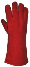 Rukavice PW PROFI WELDER celokožené zváračské kryté švy hovädzia štiepenka podšívka bavlna červené