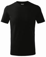 Tričko Classic 160 detské bavlna okrúhly priekrčník trup bez švov čierne
