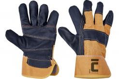 Pracovné rukavice CERVA ORIOLE kombinované hovädzia nábytkárska lícovka chrbát bavlna tuhá manžeta čierno/žlté