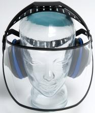 Ochranný tvárový štít Hellberg SAFE 1 v kombinácii s chráničmi sluchu EH4 polykarbonátový dĺžka 200 mm číry