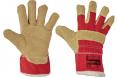 Rukavice CERVA SHAG kombinované zateplené hovädzia štiepenka s textilom žlto/červené