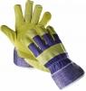 Rukavice Cerva TERN kombinovaná hovädzia štiepenka v dlani a cez špičky prstov s pruhovanú látkou žltá