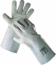 Rukavice CERVA MERLIN zváračské celokožené hovädzia štiepenka široká manžeta s dĺžkou 15 cm sivé