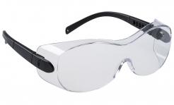 Ochranné okuliare PW OVERSPEC dvojzorníkové cez dioptrické okuliare čierne stráničky číre