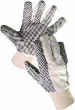 Rukavice CERVA Osprey bavlnený režný úplet PVC šošovka v dlani a na prstoch pružný náplet biele