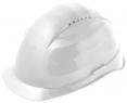 Ochranná prilba Rockman C6R HDPE 12 ventilačných otvorov látkový kríž račňa biela