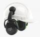 Mušľové chrániče sluchu Hellberg SECURE 1C na prilbu SNR 25 výškovo nastaviteľné čierno/zelené