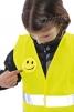 Výstražná detská súprava NARDA výstražná vesta s kľúčenkou reflexnými pruhmi smajlíkom žltá