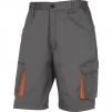 Montérkové krátke nohavice DELTA Bermuda MACH 2 PES/BA šikmé vrecká pri páse mechové vrecká na stehnách sivo/oranžové