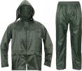 Oblek Cerva CARINA PES/PVC blúza s kapucňou na zips a nohavice do pásu zelený
