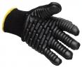 Rukavice PW BuildTex® VIBRASAFE úplet bavlna/nylon gumené antivibračné segmenty pružná manžeta čierne