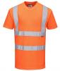 Tričko PW RIS krátke rukávy PES úplet Bird Eye výstražné reflexné pruhy 2 vodorovne + 2 zvisle HV oranžové