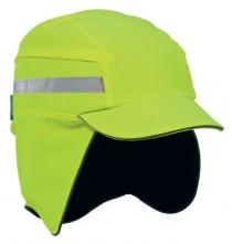 Čiapka so škrupinou PROTECTOR FB3 WINTER zateplená skrátený šilt pretiahnutá do tyla reflexné pruhy vysoko viditeľná žltá