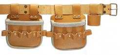 Dvojvrecková kožená taška na klince PUTAHA H92-2 s pútkamina náradie a opaskom hovädzia štiepenka svetlá