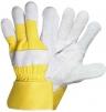 Rukavice CERVA EIDER kombinované zesilnené žltá bavlna/hovädzia štiepenka
