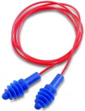 Tlmiace zátky HOWARD Leight AIRSOFT mäkký plast tesniace lamely priehľadná krabička červené spojovacie vlákno modré