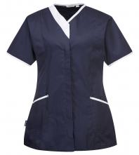 Pracovná blúzka PW Modern Style PES/BA dámska vypasovaná krátky rukáv šikmé vrecká kontrastný stojačik tmavo modro/biela