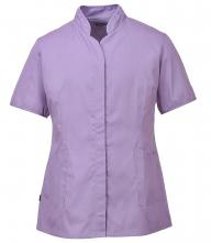 Pracovná blúzka PW Premier PES/BA dámska vypasovaná krátky rukáv šikmé nízky stojačik fialová