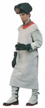 Zástera LASCAR zváračská kožená s golierom na ramenách sivá