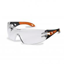 Okuliare UVEX PHEOS Supravision Excellence čierno/oranžový rámik veľkoplošný priezor nezahmlievajúce sa nepoškriabateľné číre