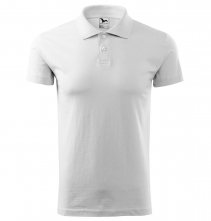 Polokošeľa Single Jersey 180 bavlna hladká krátky rukáv 2 gombíky rebrovaný golier biela