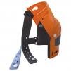 Nákolenník HORNÍK kĺbový polstrovaný čiernou penou široké upínacie pásky plastový skelet oranžový