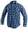 Košeľa pracovná TOM flanelová kockovaná dlhý rukáv modrá