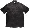 Rondon PW CUMBRIA Chefs kuchársky PES/bavlna krátky rukáv dvojradový so zapínaním na cvoky čierny