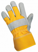 Rukavice CXS DINGO kombinované jemná hovädzia štiepenka so žltou tkaninou a tuhou manžetou sivé