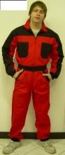 Kombinéza ROMAN 100% bavlna zips pružné patenty na rukávoch a nohaviciach 4 vrecká stojačik červeno/čierna
