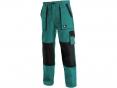 Montérkové nohavice CXS LUXY JOSEF do pása 100% bavlna mechové vrecká zosilnené kolená zeleno/čierne