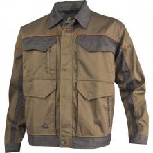 Montérková blúza DELTA Mach Corporate košeľový golier kontrastne obšívanie béžovo/sivá