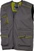 MMontérková vesta DELTA PLUS MACH 6 ľahká bez podšívky zapínanie na zips množstvo vreciek kontrastné obšívanie sivo/zelená