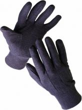 Rukavice Cerva FINCH päťprsté teplákový úplet BA/PES pružná manžeta hnedo/čierne