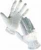 Rukavice Cerva Bustard bavlnený úplet s PVC šošovkou stiahnuté do gumičky na zápästí biele