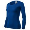 Tričko Malfini Fit-T 160 100 % bavlna dlhý rukáv dámske okrúhly priekrčník ľahko vypasované kráľovské modré