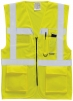 Vesta EXECUTIVE BERLIN výstražná vrecká zips 2 vodorovné + zvislé reflexné pruhy HV žltá