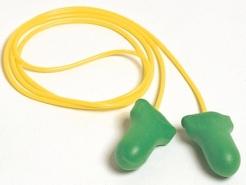 Tlmiace zátky HOWARD Leight MAX LITE pamäťová PU pena balenie jednotlivo žluté spojovacie vlákno zelené