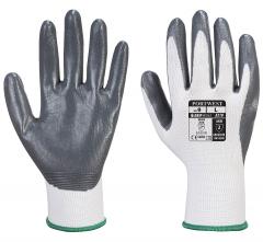 Rukavice PW Flexo Grip nylonový úplet potiahnutý nitrilom v dlani a na vnútornej strane prstov pružná manžeta sivo/biele