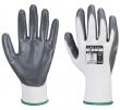Rukavice PW Flexo Grip nylonový úplet potiahnutý nitrilom v dlani a vnútornej strane prstov pružná manžeta sivo/biele