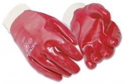 Rukavice PW A400 bavlnený úplet celomáčaný v PVC pružná manžeta červené