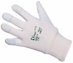Rukavice CXS TALE kombinované jemná kozinka/bavlna s nápletom sivo/biele