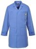 Antistatický pracovný plášť ESD s vreckami a nastaviteľnými rukávmi nemocničná modrá veľkosť XL
