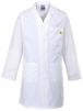 Antistatický pracovný plášť ESD s vreckami a nastaviteľnými rukávmi biely veľkosť XL