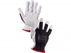 Rukavice CXS TECHNIK Plus bavlna/kozinka guma na zápästí voľná manžeta šedo/čierne