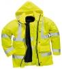 Bunda PW TRAFFIC 4v1 Hi-Vis kapucňa vyberateľná vložka reflexné pruhy zateplená nepremokavá HV žltá