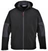 Softshellová bunda PW TECHNIK 3L membrána TRIPLE DRY kapucňa nepremokavá vrecká na zips čierno/sivá