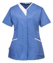 Pracovná blúzka PW Modern Style PES/BA dámska vydriečená krátky rukáv šikmé vrecká kontrastný stojačik svetlomodro/biela