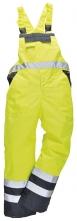Nohavice DUO TERMO náprsenkové zateplené nepremokavé vysoko viditeľná žlto/modrá veľkosť XL
