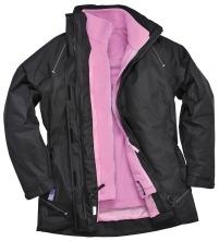 Bunda PW ELGIN 3 v 1 PES/PVC dámska vypasovaná odopínateľná flísová vložka kapucňa v golieri čierna/ružová